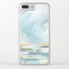 Thankful - Gray and Yellow Ocean Seascape Clear iPhone Case