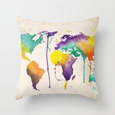World Splash Throw Pillow