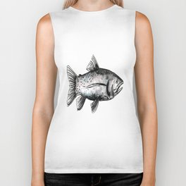 Fish-Black and White Biker Tank