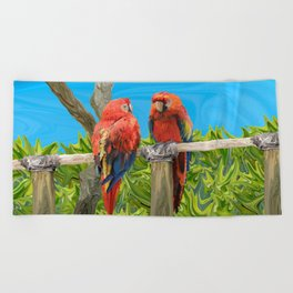 Scarlet Macaw Parrots Perching Beach Towel