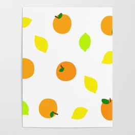 Citrus with Yellow, Orange and Green Oranges, Lemons and Limes Poster