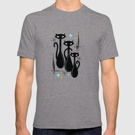 Effervescent Orange Atomic Age Black Kitschy Cat Trio T-shirt