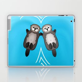 Otters Holding Hands - Otter Couple Laptop & iPad Skin