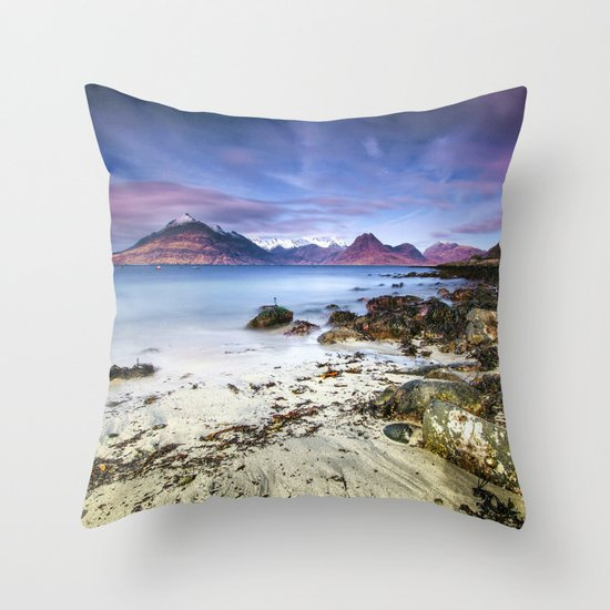 Beach Scene Throw Pillows : Beach Scene - Mountains, Water, Waves, Rocks - Isle of Skye, UK Throw Pillow by Stay Positive ...