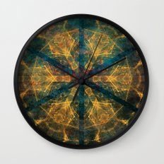 Tribal mandala in blue and gold Wall Clock