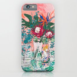 Cockatoo Vase - Bouquet of Flowers on Coral and Jungle iPhone Case