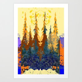 Spruce Trees Forest Browns-sage Green Modern Landscape Art Print