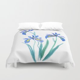 blue iris watercolor Duvet Cover