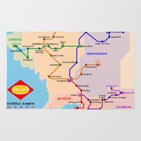middle earth Area & Throw Rugs featuring Middle-Earth metro map by tuditees