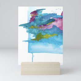 Salt Water Dreams: a vibrant abstract watercolor piece in blue, pink and yellow Mini Art Print