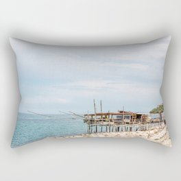 Typical trabucco in a new day on the Adriatic coast in spring Rectangular Pillow