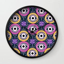 All Seeing Eye Pattern in Navy Wall Clock