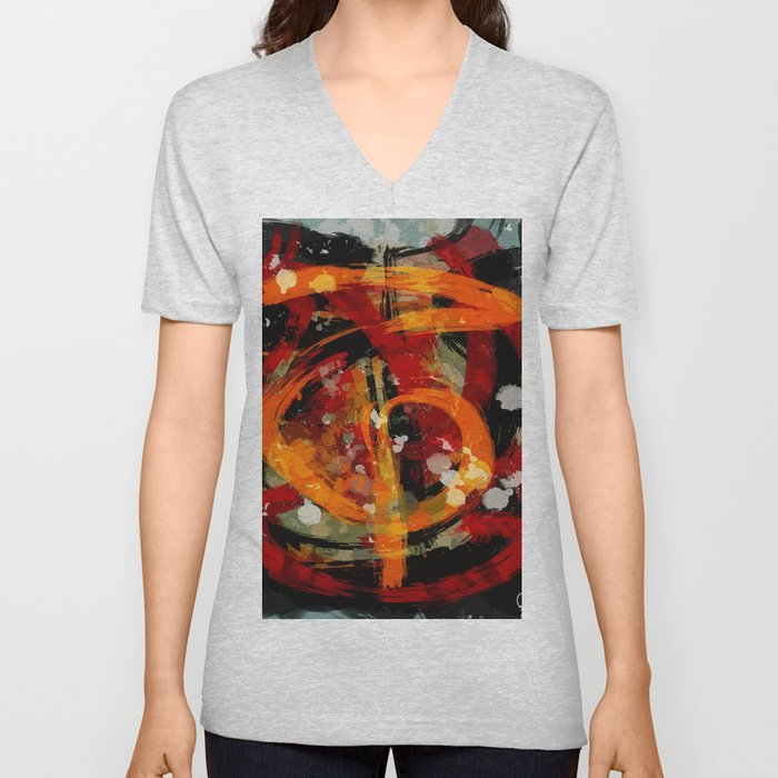 Into the dragon abstract  art Unisex V-Neck