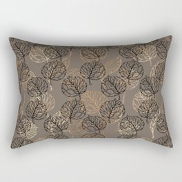 Mauve brown black faux gold floral leaves Rectangular Pillow