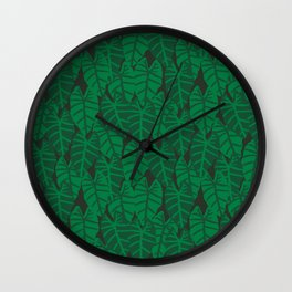 Elephant Ear house plant tropical garden green minimal pattern Wall Clock
