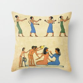 Modern hieroglyphs: Ancient Egypt lifestyle and costumes Throw Pillow