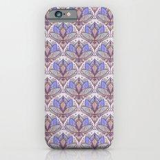 Art Deco Lotus Rising 2 - sage grey & purple pattern iPhone 6 Slim Case