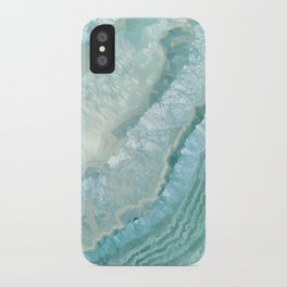 """Aquamarine Pastel and Teal Agate Crystal"" iPhone Case"