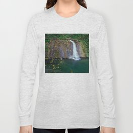 Autumn leaves in the waterfall Long Sleeve T-shirt