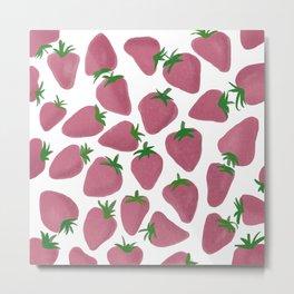 Strawberry fun pink fruit pattern Metal Print