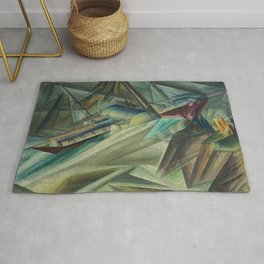 The Peddle Streamer III Nautical Landscape by Lyonel Feininger Rug