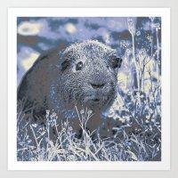 guinea pig Art Prints featuring blue guinea pig by MehrFarbeimLeben