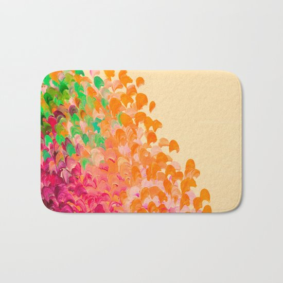 CREATION IN COLOR Autumn Infusion - Colorful Abstract Acrylic Painting Fall Splash Ombre Ocean Waves Bath Mat