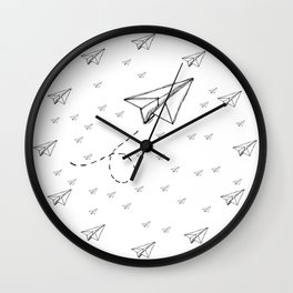 Paper Airplane 9 Wall Clock