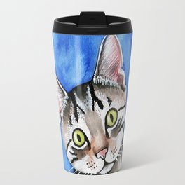 meow? // watercolor tabby cat portrait Travel Mug