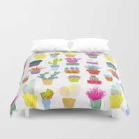succulents Duvet Covers featuring Succulents by Annelijacobson