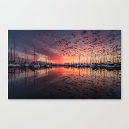 Gorgeous harbor and boats reflection landscape on a beautiful waterfront at stunning sunset time Canvas Print