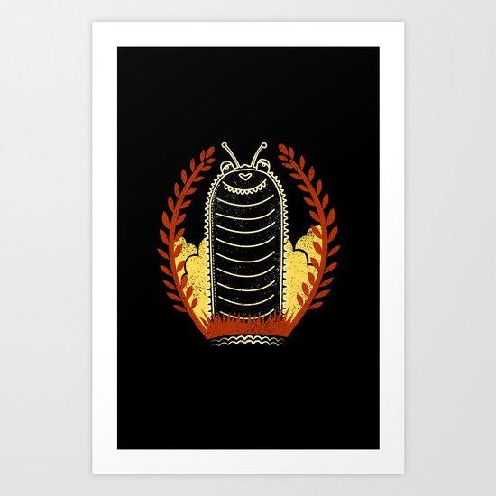 black caterpillar Art Print