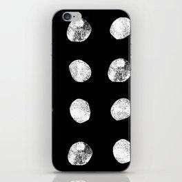 Linocut minimal black and white dots pattern minimalist texture basic art iPhone Skin