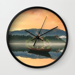 Golden Getaway Wall Clock