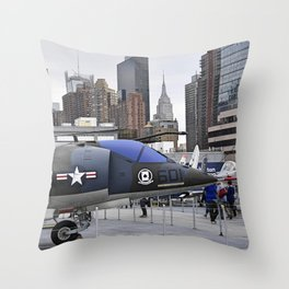 A British Harrier Jet in New York Throw Pillow