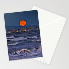 Christmas Moonset Huntington Beach Pier  12/25/15 Stationery Cards