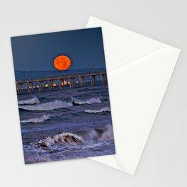Christmas Moonset Huntington Beach Pier  12/25/15 Stationery Cards
