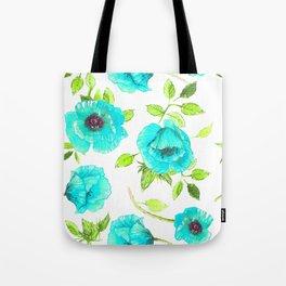 Aqua poppy Tote Bag