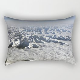 Himalaya mountains under clouds. View from airplane - Tibet Rectangular Pillow