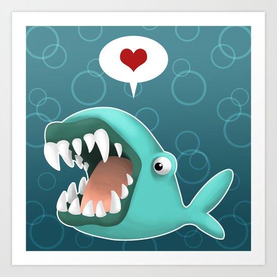 Carnivorous Whale wants Love Art Print