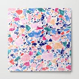 Terrazzo Crystals / Mineral Texture in Blue, Pink and Turquoise Metal Print