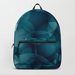 Dark intersecting heavenly translucent circles in bright colors with the blue glow of the ocean. Backpack
