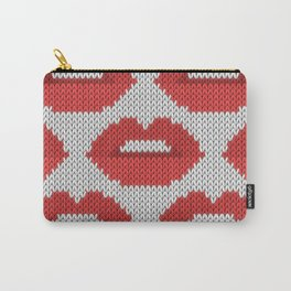 Lips pattern - white Carry-All Pouch