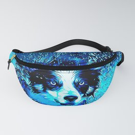 border collie jumping in water vector art crisp winter Fanny Pack
