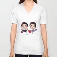 wes anderson V-neck T-shirts featuring 5 years of Blaine Anderson by Sunshunes