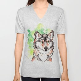 Mexican Gray Wolf Bust Unisex V-Neck