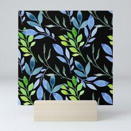 Blue and Green Leaves Mini Art Print