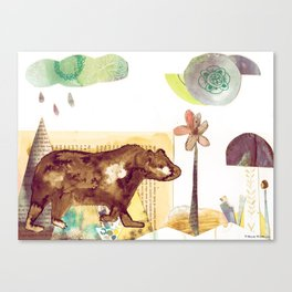 Bear in Forest Whimsical Abstract Mixed Media Collage Canvas Print