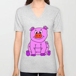 Wide-eyed Piggy Unisex V-Neck