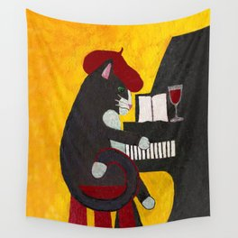 Tuxedo Cat Playing a Piano Wall Tapestry